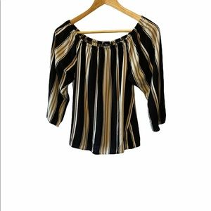TROVARE Striped Scoop Neck 3/4 Sleeve Loose Top S